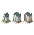 isometric buildings set isolated on white vector image