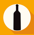 a bottle of wine and a glass icon on white circle vector image vector image