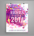 abstract festa junina 2017 invitation with vector image vector image