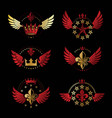 ancient crowns and military stars emblems set vector image vector image