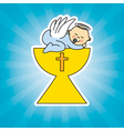 Baby boy in the holy grail vector image vector image