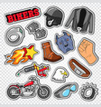 biker doodle with motorcycle sunglasses vector image vector image