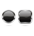 black glass buttons 3d shiny round and square vector image vector image