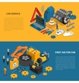 Car Service Tools Isometric Banner Set vector image vector image