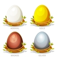 Cartoon funny colored Eggs in birds nest of twigs vector image vector image