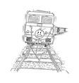 cartoon of frightened man running on tracks away vector image