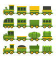 cartoon style green toy railroad train set vector image vector image