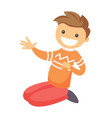 caucasian white happy boy sitting on the floor vector image