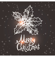 Christmas Card With Sketch Holly vector image vector image