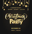 christmas party poster template hand written vector image vector image