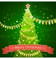 Christmas tree on a dark green background canvas vector image vector image