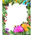 Christmas wreath with orange and purple baubles vector image vector image