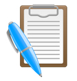 clipboard and pen vector image vector image