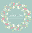 decorative circle frame with cute flowers vector image vector image