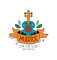 dia de los muertos logo design mexican day of the vector image