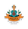 dia de los muertos logo design mexican day the vector image