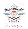 Emblem baseball superstar college team vector image vector image