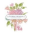 floral bouquet design with pastel japanese vector image vector image