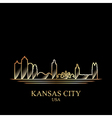 Gold silhouette of Kansas City on black background vector image vector image