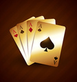 golden casino playing card with four aces vector image
