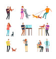 happy people pet owner man women and family vector image