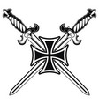 knightly design iron cross and two medieval vector image vector image