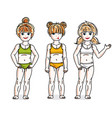 little girls group standing wearing colorful vector image vector image