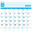 May 2015 calendar page template vector image
