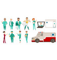 medical staff - doctors ambulance online help vector image vector image