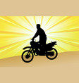 motorcyclist silhouette on the abstract background vector image vector image