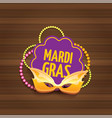 new orleans mardi gras carnival label with vector image