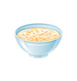 oats bowl oatmeal with milk oat grain porridge vector image vector image