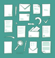 office paper and magnifying glass icons set vector image