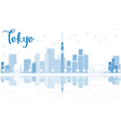 Outline Tokyo skyline with skyscrapers vector image