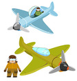 Plane green and blue with isolated pilot vector image