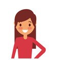 portrait cartoon woman smiling character vector image vector image