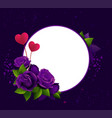 purple roses and two heart shape symbol love vector image vector image
