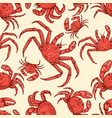 seamless pattern with crabs design element vector image
