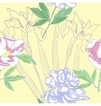 Seamless pattern with iris and peonies vector image vector image