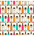 seamless retro pattern with bottles wine and vector image