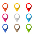 Set of colored map pointers with long shadow vector image vector image