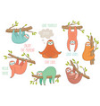 set of cute hand drawn sloths hanging on the tree vector image vector image
