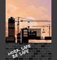 silhouetted construction site development vector image vector image