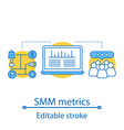 smm metrics and tools concept icon vector image vector image