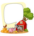 speech bubble template with farm scene in vector image vector image