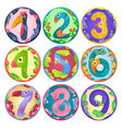 Stickers from numbers like birds in fairy style vector image vector image