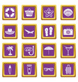 summer rest icons set purple vector image vector image