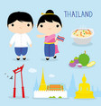 thailand tradition food place travel asia cartoon vector image