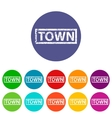 Town flat icon vector image vector image