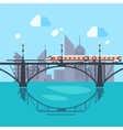 Urban Landscape and Train on Railway vector image vector image